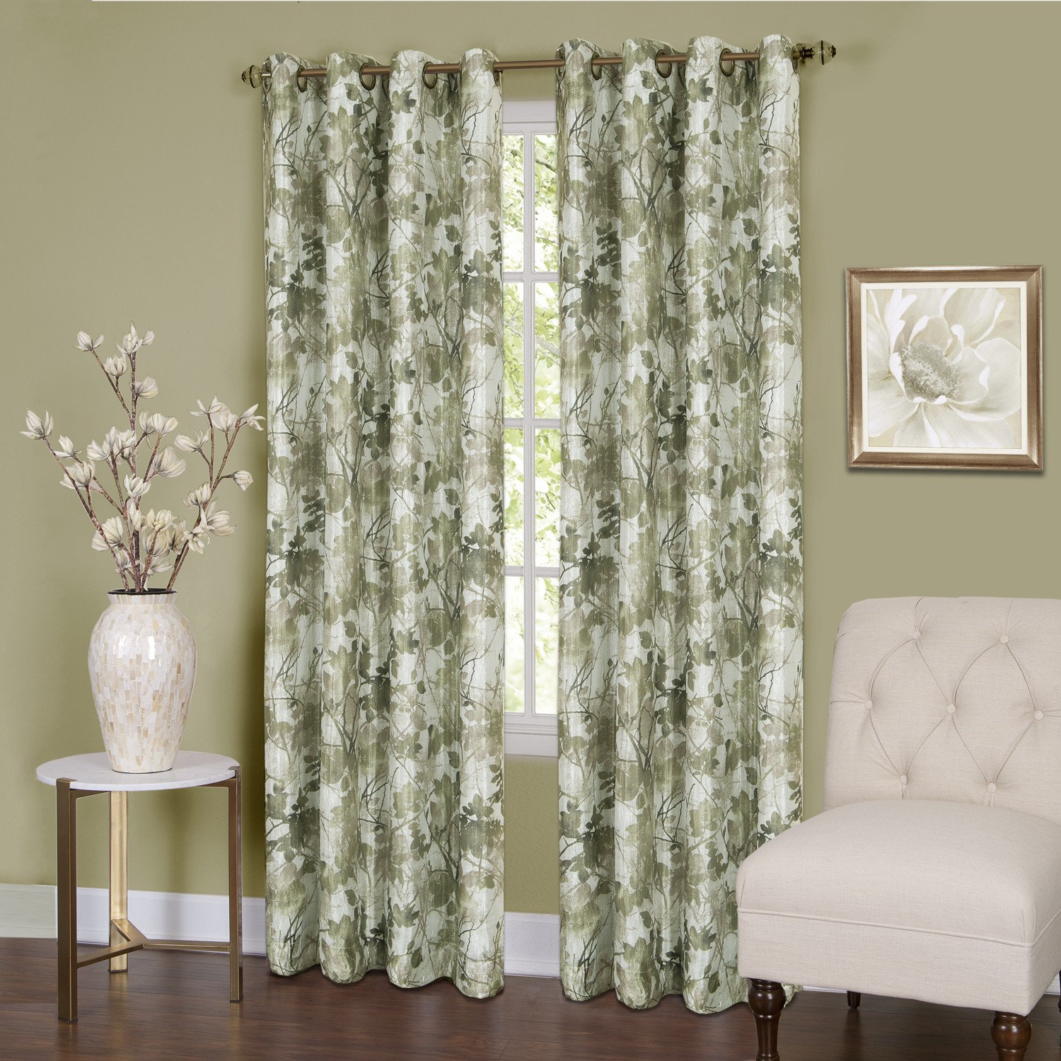 Serenity Floral Set of 2 Energy Efficient Blackout Curtain Panels Grommets - Sage