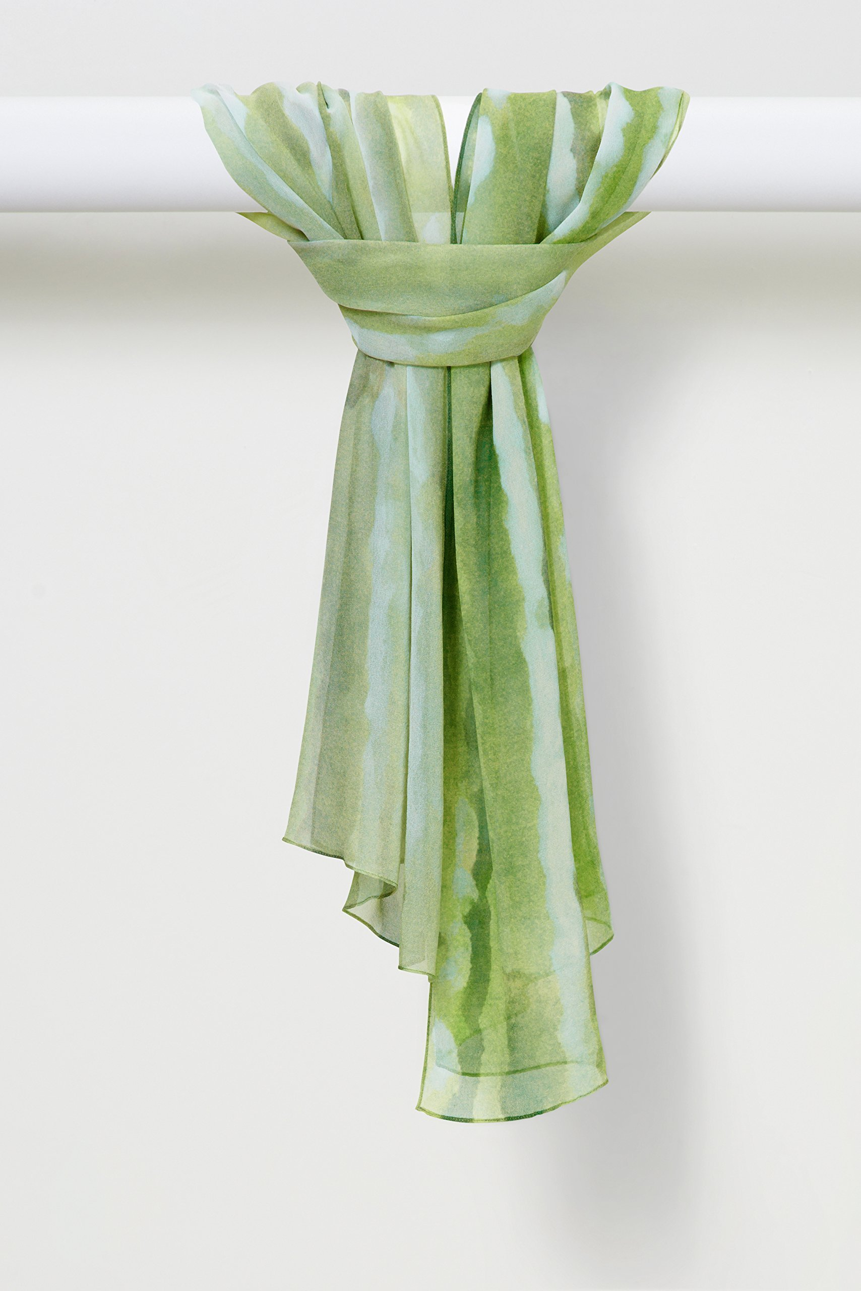 Two-Color Light Sprays Pure Silk Shawl in Green