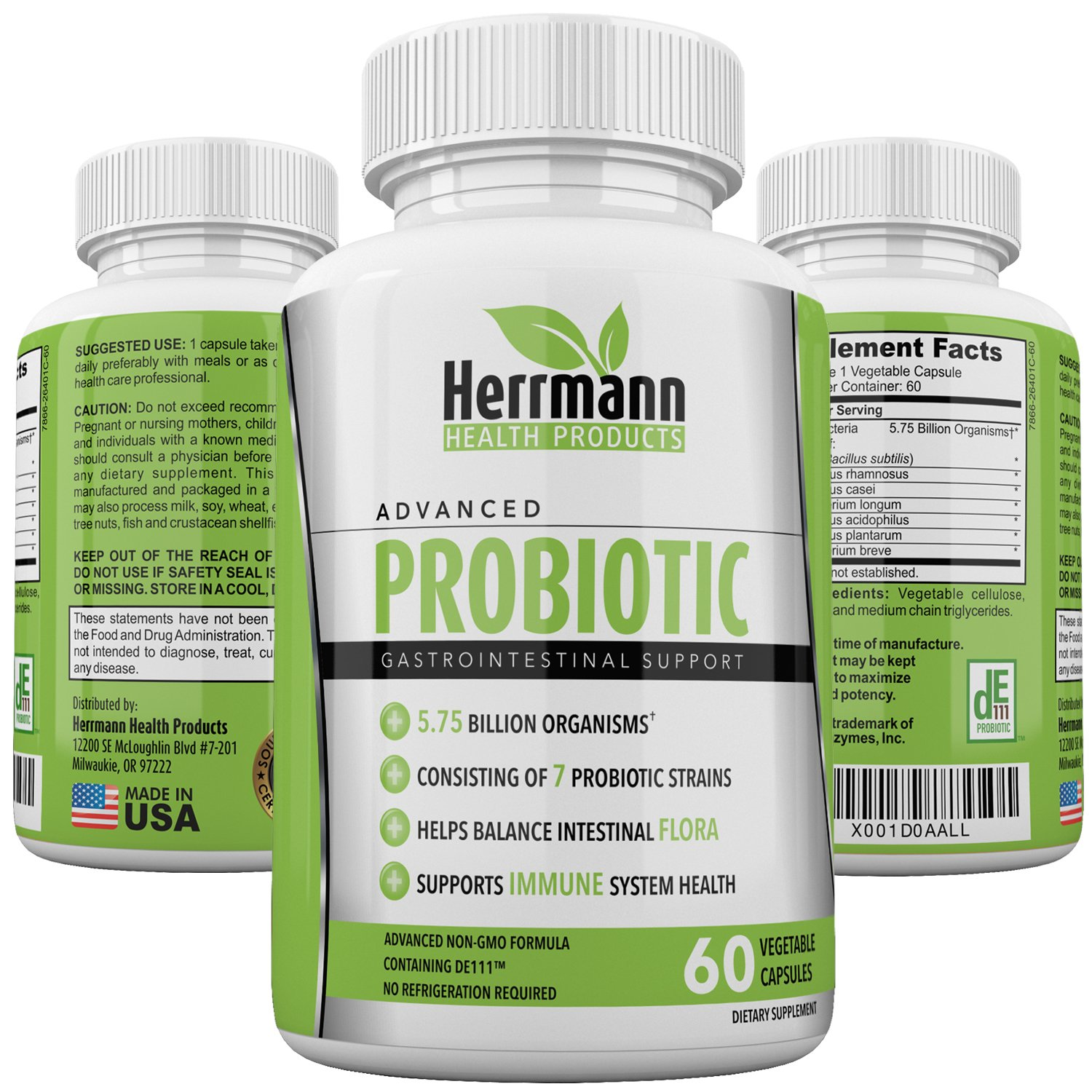 Probiotics by Herrmann Health Products | Probiotic for Men and Women | High Potency 7 Strain Formula | 5.75 Billion Organisms per Capsule | Non-GMO Consisting of DE111™ | GMP Certified 60 Capsules