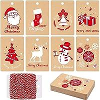 MIAHART 80 pièces Kraft papier étiquettes de cadeau de Noël étiquettes d'emballage avec une corde suspendue, 8 styles étiquettes de cadeaux de Noël Kraft pour bricolage Arts and Crafts