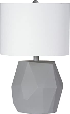 Modern table lamp with white shade textured fabric rock modern table lamp with white shade textured fabric quotrockquot style resin aloadofball Gallery