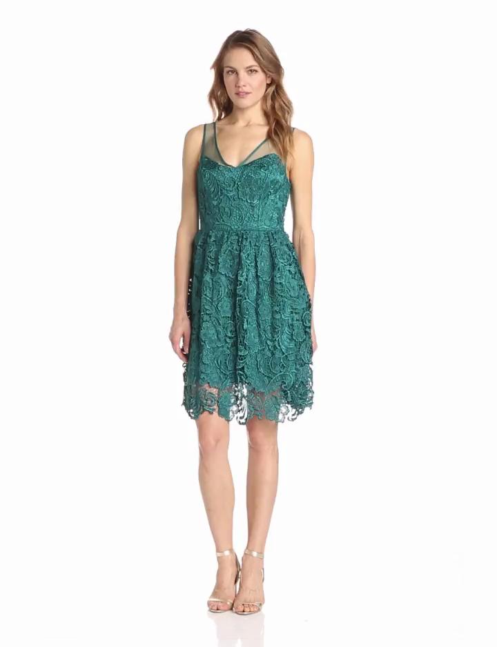 Adrianna Papell Womens Sleeveless Illusion Body Party Dress