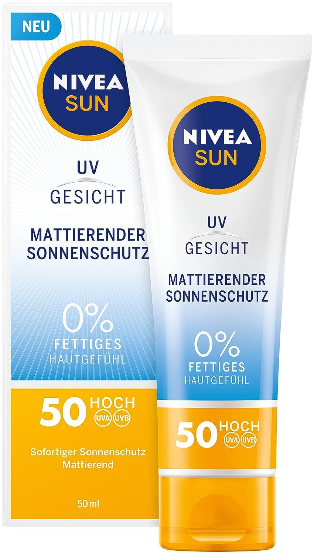 NIVEA SUN Sonnencreme fürs Gesicht, Mattierender Sonnenschutz, Lichtschutzfaktor 50, Tube, 50 ml 86007-01000-18