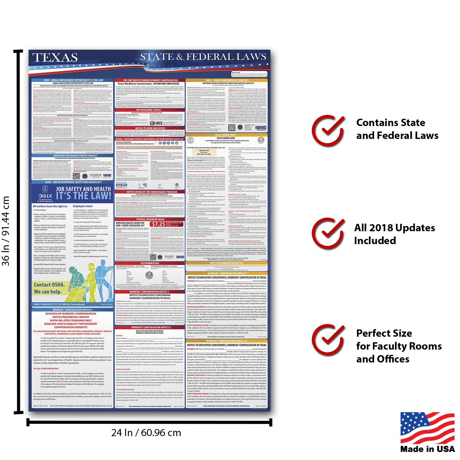 2018 Texas Employment Labor Law Poster - State & Federal Compliant - OSHA Compliant by Compliance Audit Center (Image #2)