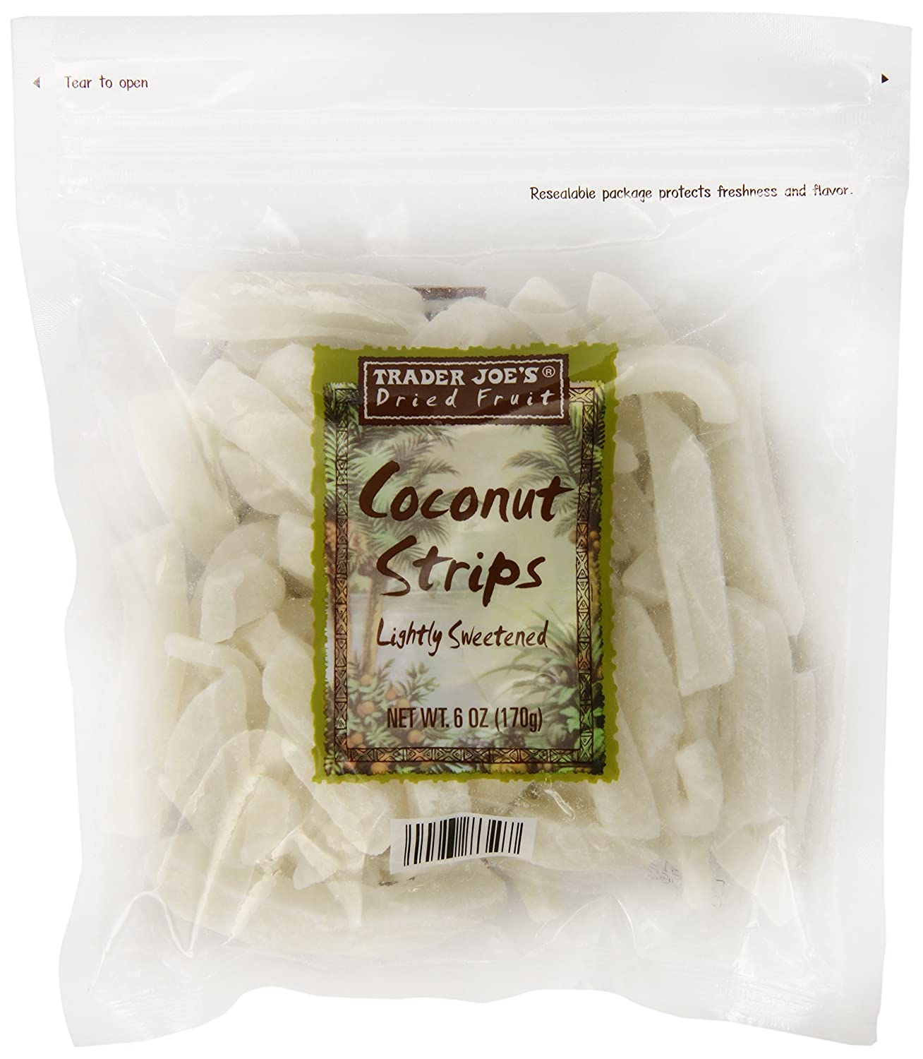 Amazon Com Trader Joe S Lightly Sweetened Coconut Strips 6 Oz Coconut Chunks Grocery Gourmet Food