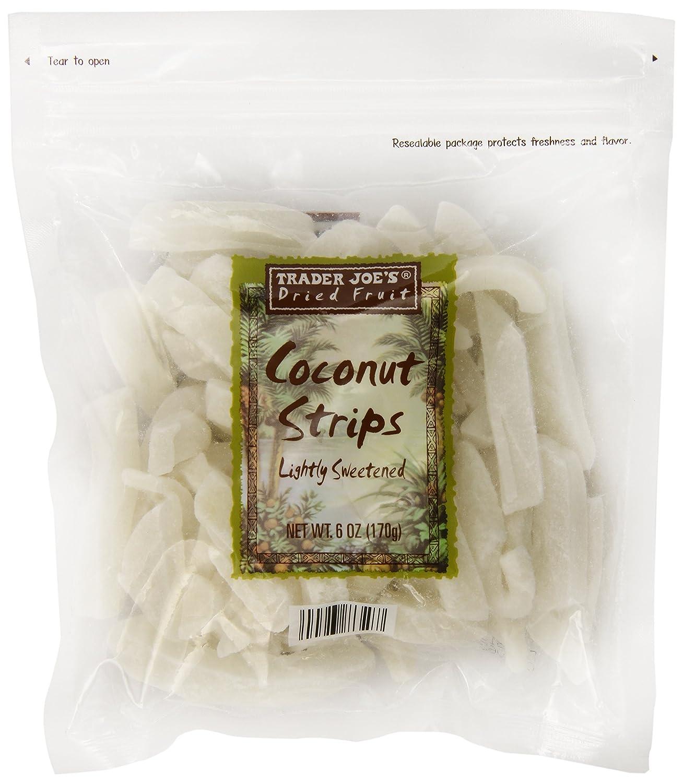Amazon Com Trader Joe S Lightly Sweetened Coconut Strips 6 Oz Coconut Chunks Grocery Gourmet Food