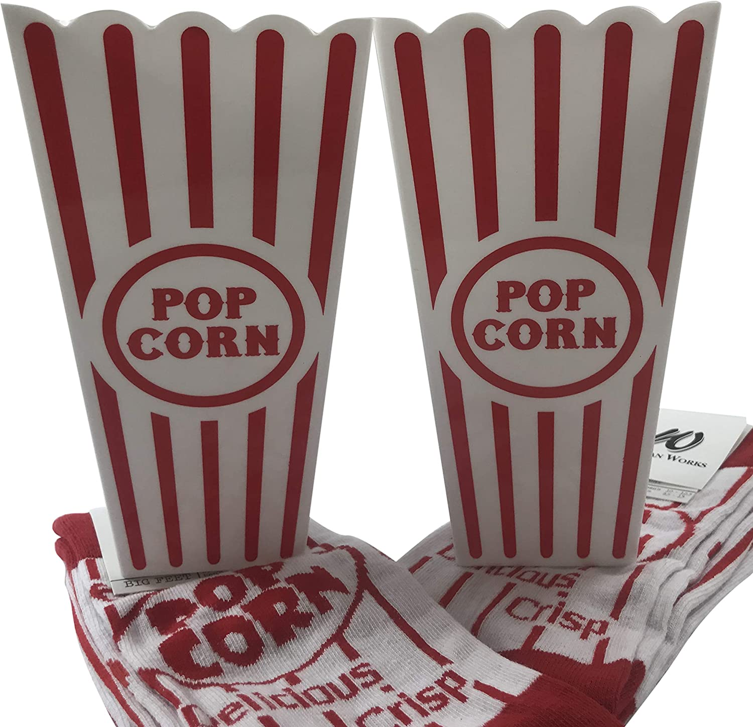 Movie Lovers Accessory Gift Set with 2 Pairs of Popcorn Socks and Two Buckets