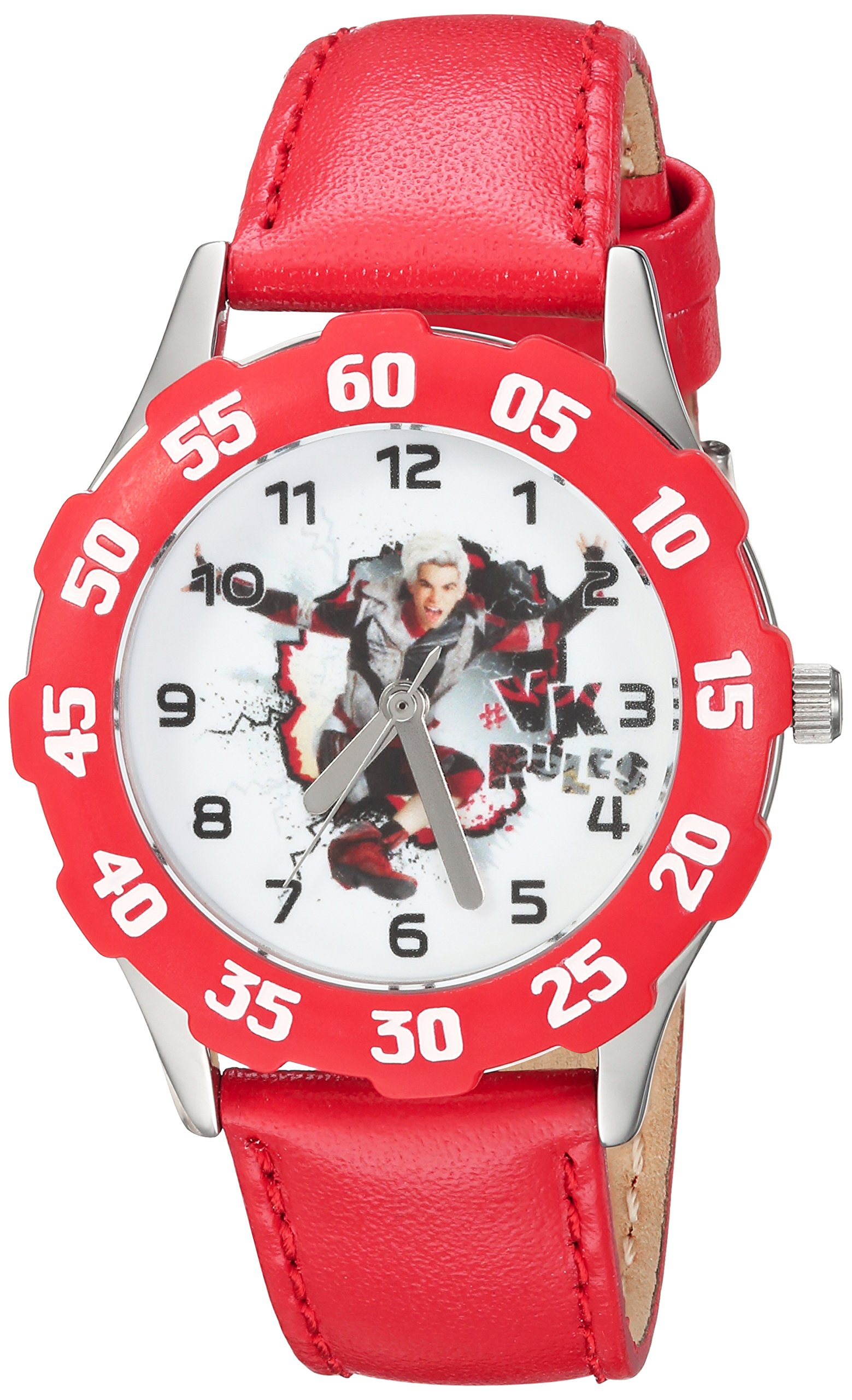 DISNEY Boys Descendants 2 Stainless Steel Analog-Quartz Watch with Leather-Synthetic Strap, red, 16 (Model: WDS000251) by Disney