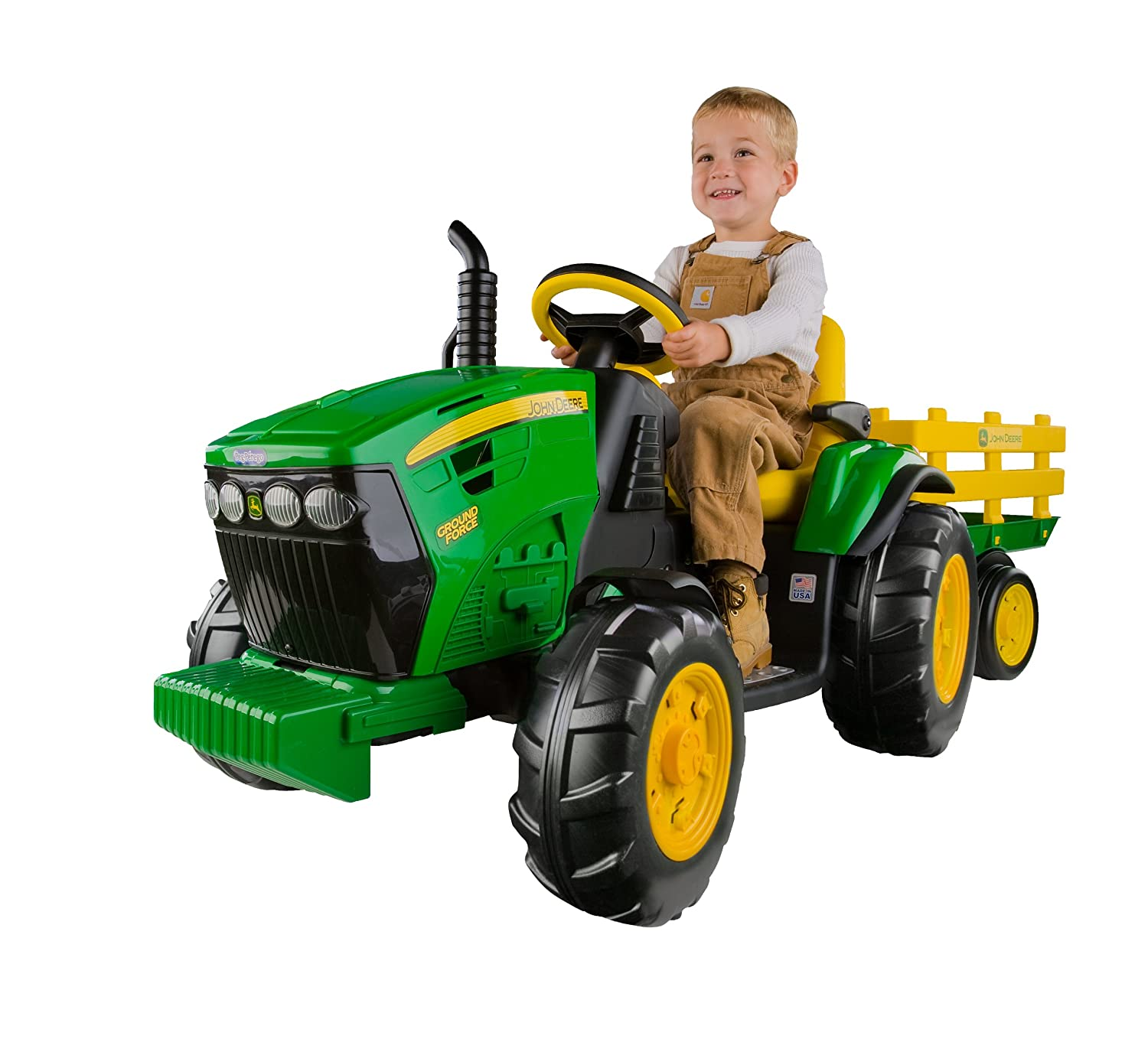 Peg Perego John Deere Ground Force Tractor with Trailer - Power wheels John Deere
