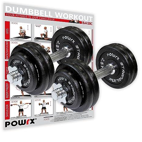POWRX - Mancuernas Hierro Fundido 30 kg Set (2 x 15 kg) + PDF ...
