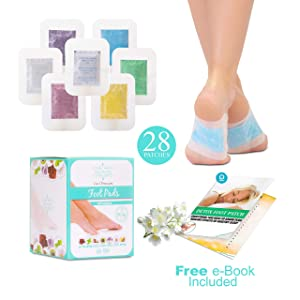 Sole Soothe Foot Pads (28 Pack) 100% Natural Body Cleanse Foot Patches, Vitamin C - 7 Aromas Organic Ginger Mint Green Tea Lavender, Detox Foot Patch E-Book Metabolism Booster Toxin Remover Deep Sleep