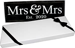 Craftwize Mrs & Mrs Wooden Lesbian 2020 Same Sex Wedding Sign (Large)