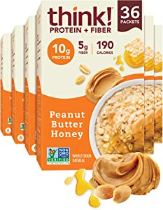 think! (thinkThin) Instant Oatmeal Packets - Protein & Fiber - Steel Cut Oats, 5g Fiber, Non GMO, 10g Protein, Peanut Butter Honey, 36 Packets - Packaging May Vary