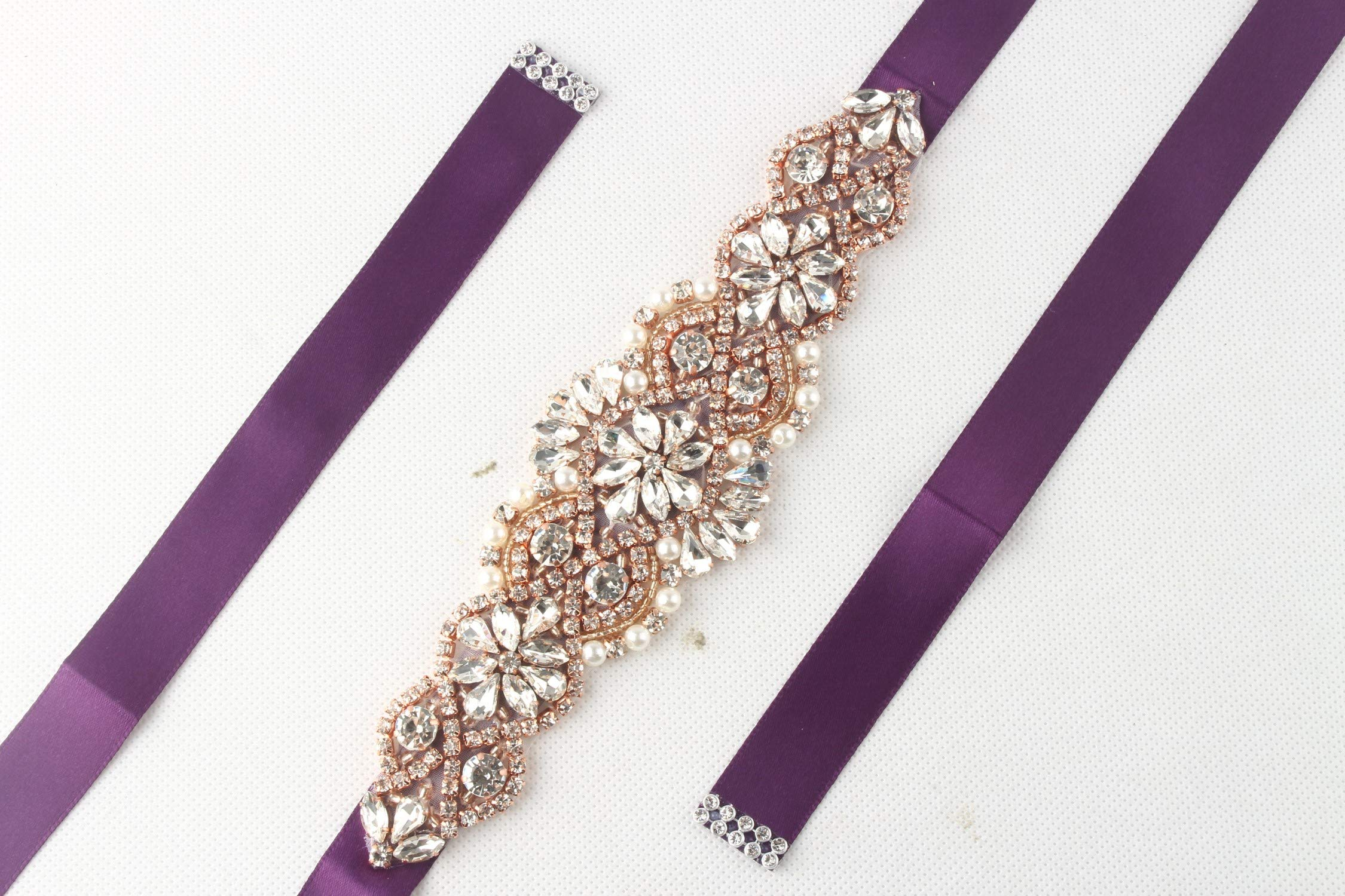 WILTEEXS Handmade Bridal Belt Wedding Belts Sashes Rhinestone Crystal Beads Belt For Bridal Gowns (Rose Gold-purple)