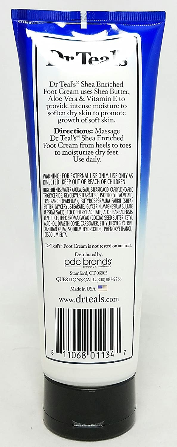 Dr. Teals Pure Epsom Salt Foot Cream, Moisturize Soften, 8 oz Per Tube 6 Tubes
