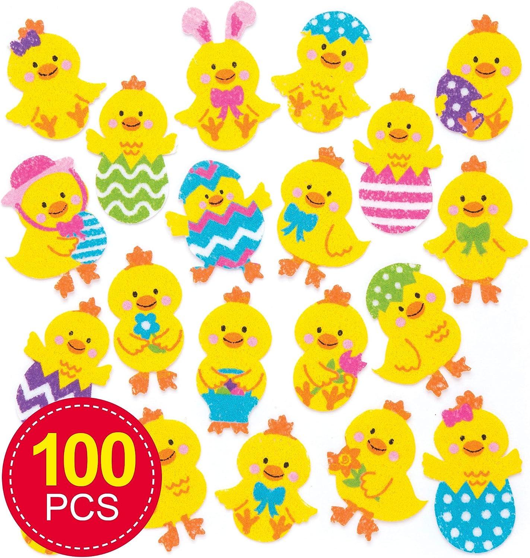 Baker Ross- Pegatinas de Fieltro con Forma de Pollitos de Pascua (Pack de 100) para Decorar Manualidades de Pascua Infantiles: Amazon.es: Juguetes y juegos