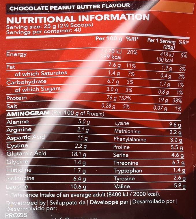 Prozis 100% Real Whey Protein, Chocolate y Cacahuete - 1000 gr: Amazon.es: Salud y cuidado personal