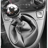 Fiat 500 dal 2006 cuffia leva cambio realizzata in vera pelle nera