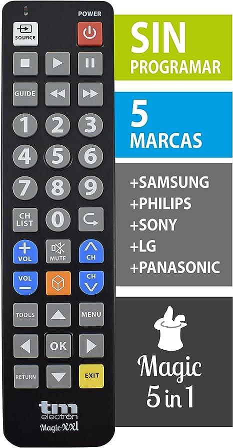 TM Electron TMURC502 - Mando a distancia universal Magic XXL con teclas grandes para personas mayores, compatible con televisores de grandes marcas, no necesita programación ni códigos: Amazon.es: Electrónica