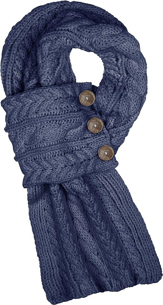 Aran Traditions Women Ladies Men Winter Warm Knitted Style Black Scarf