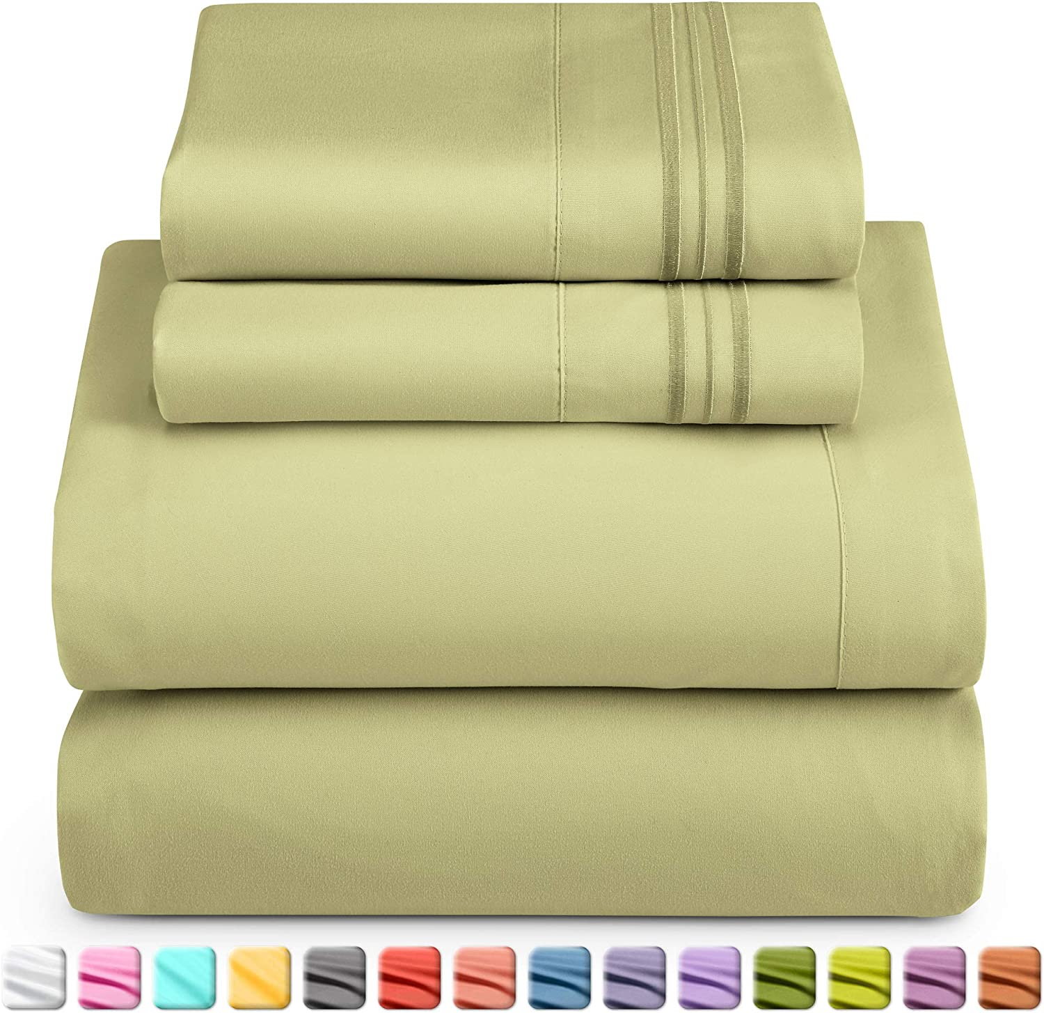 Nestl Deep Pocket Twin Sheets: Twin Size Bed Sheets with Fitted and Flat Sheet, Pillow Cases - Extra Soft Microfiber Bedsheet Set with Deep Pockets for Twin Sized Mattress - Sage Olive Green