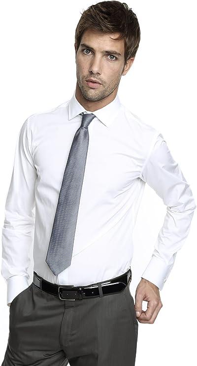 Caramelo, Camisa Ceremonia Slim con Cuello Italiano, Hombre ...