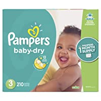 Diapers Size 3, 210 Count - Pampers Baby Dry Disposable Baby Diapers, ONE MONTH...