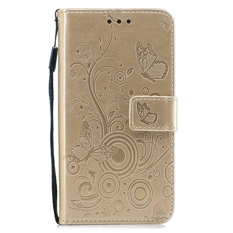 HCUI Compatible avec Galaxy J3 2017 Coque Cuir Étui Wallet Housse Papillon Fleur Motif Portefeuille de Protection Coque avec Fonction Support Magnétique Pochette Antichoc Coque - Doré.