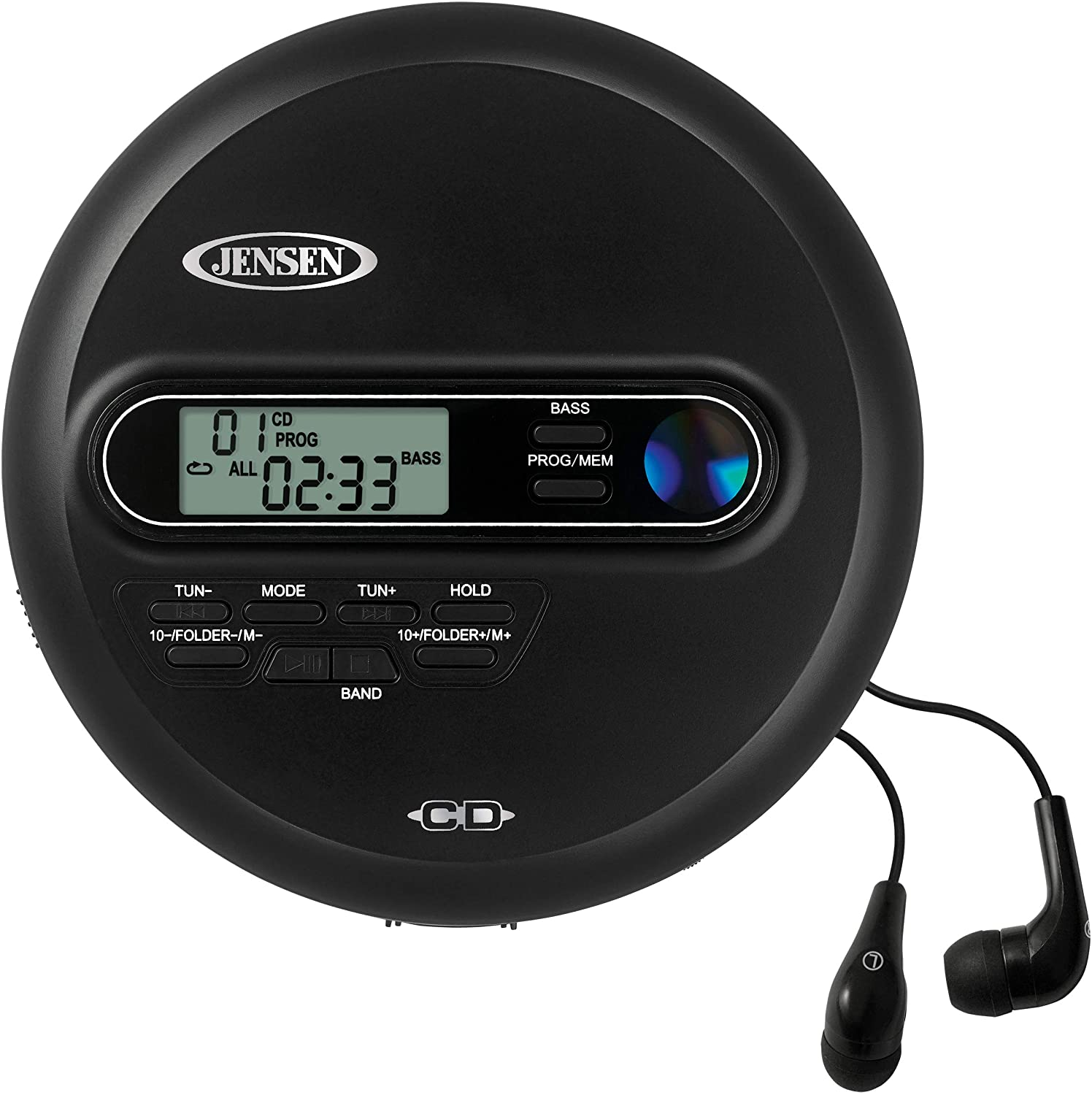 Jensen Portable CD Player Personal CD/MP3 Player + AM/FM Radio + with LCD Display Bass Boost 60-Second Anti Skip CD R/RW/Compatible+ Sport Earbuds Included (Limited Edition Black Series)