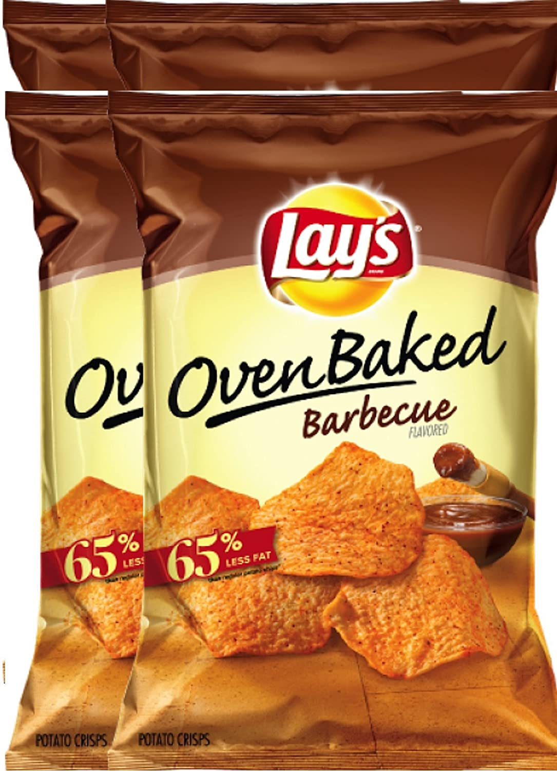 Lay's Oven Baked Barbecue Flavored Potato Crisps Snack Care Package for College, Military, Sports Net WT 6.25 Oz (4)