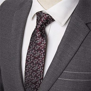 Meaningg-Mnes Tie-Corbatas de hombre Flor Flaca Raya 7cm Corbatas ...