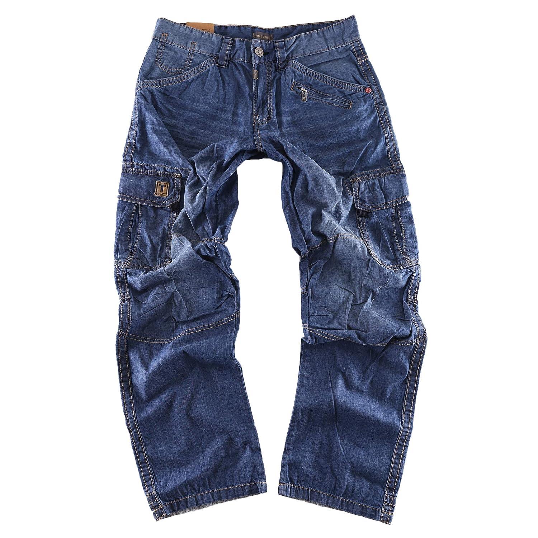 Timezone Herren Relaxed Hose BenitoTZ 3131 Denim Cargo Pants Blau