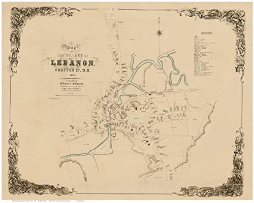 Amazon Com Lebanon 1853 Old Map New Hampshire Reprint Homeowner Names Towns Other Grafton County Handmade,Best Places To Travel In December And January