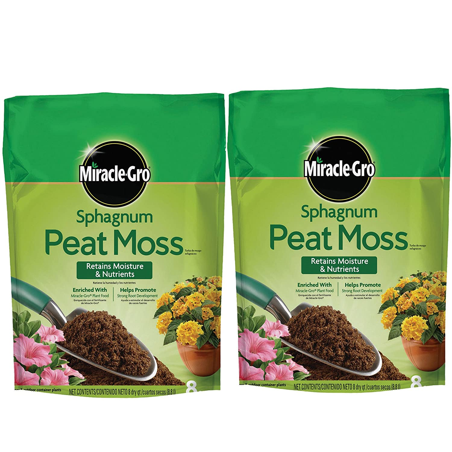 Amazon.com: Miracle-Gro Sphagnum Peat Moss, 8-Quart, 2-Pack: Garden & Outdoor
