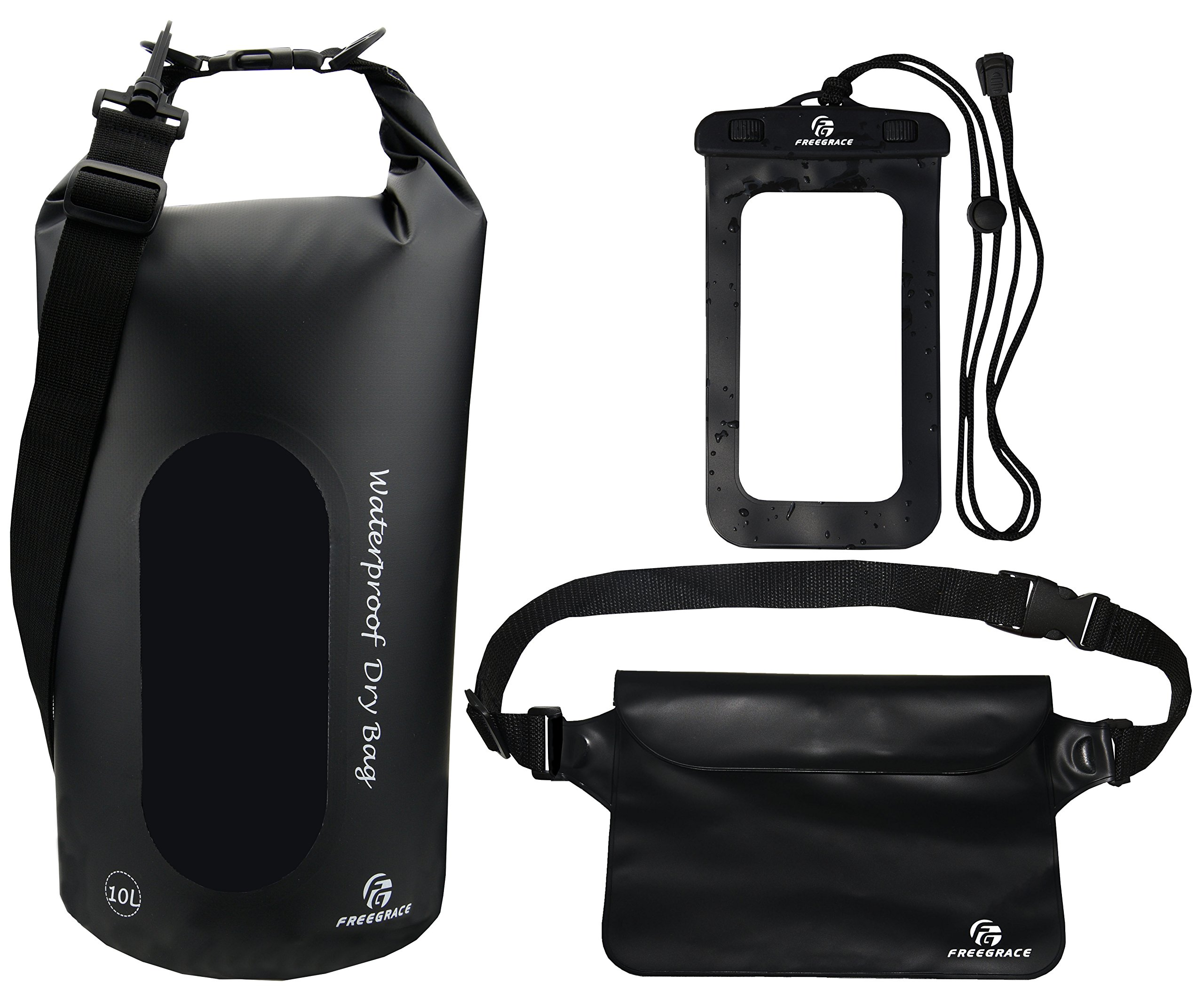 Freegrace Waterproof Dry Bags Set of 3 Dry Bag with 2 Zip Lock Seals & Detachable Shoulder Strap, Waist Pouch & Phone Case - Can Be Submerged Into Water - for Swimming (Black(Window), 10L)