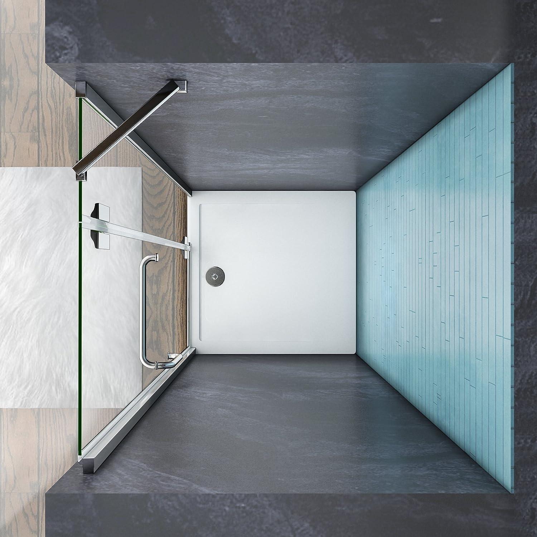Aica Italy - Mampara de ducha con puerta batiente y barra estabilizadora, transparente: Amazon.es: Bricolaje y herramientas