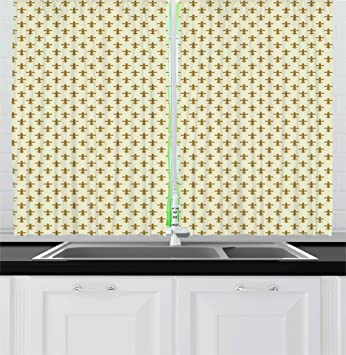 Buy Ambesonne Retro Kitchen Curtains Fleur De Lis Flower Of The Lily Design Traditional Repetitive Pattern Window Drapes 2 Panel Set For Kitchen Cafe Decor 55 X 39 Cream Gold Online At Low Prices
