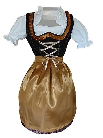 Di21 Mini Dirndl, 3 teiliges Trachtenkleid in schwarz gold, Kleid mit Bluse  und Schürze