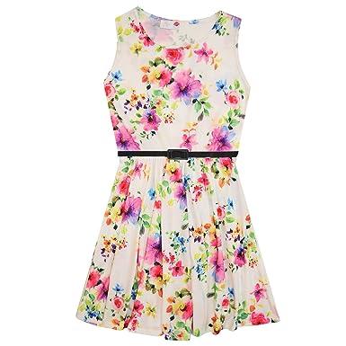 Girls Skater Dress Kids Flower Print Belted Dress New Look Fashion