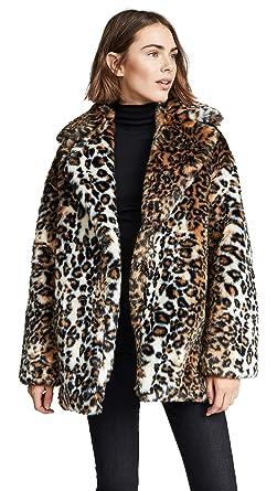2b54dbfa88 Amazon.com: Pam & Gela Women's Leopard Faux Fur Coat: Clothing