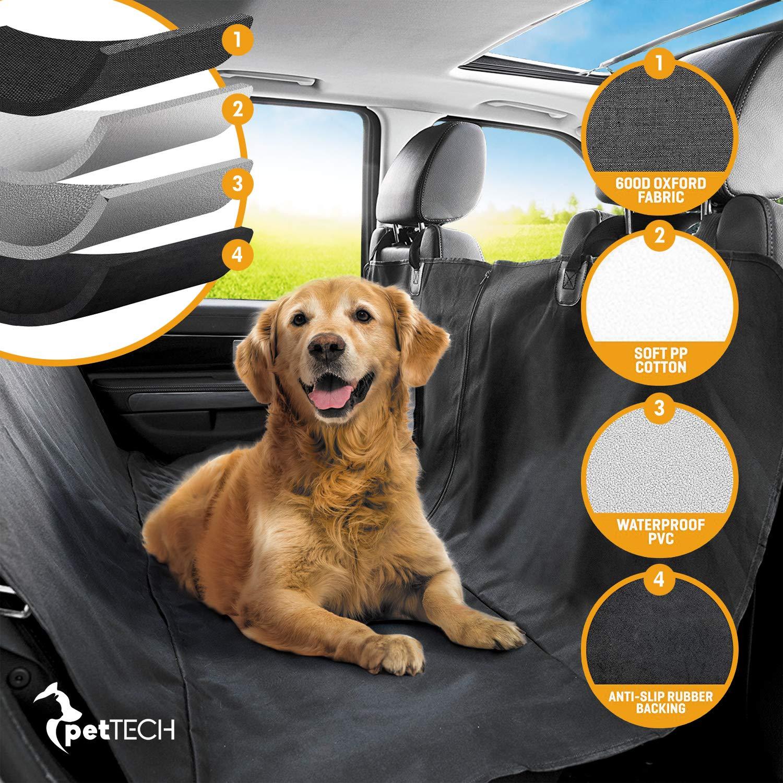 PetTech Housse de siège / Hamac pour pour petits et grands chiens, installation rapide et facile à nettoyer, protège votre voiture, 100 % étanche, conception antidérapante, voyage sans risque
