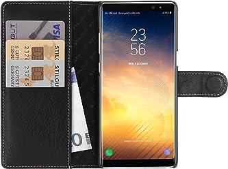 StilGut Talis Case con Tasca per Carte, Custodia in Pelle Cover per Samsung Note 8. Chiusura a Libro Flip-Case in Vera Pelle Fatta a Mano, pratiche Tasche per Carte di Credito, Nero Nappa