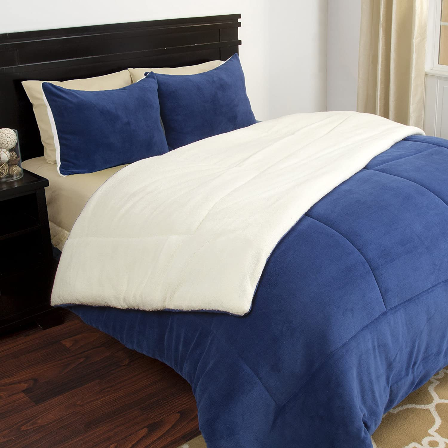 Lavish Home 3 Piece Sherpa/Fleece Comforter Set - F/Q - Navy