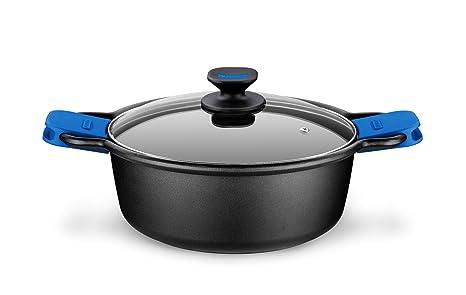 Monix Solid Cacerola Alta, Tapa de Cristal y Asas de Silicona, 8 litros, Aluminio, Negro y Azul