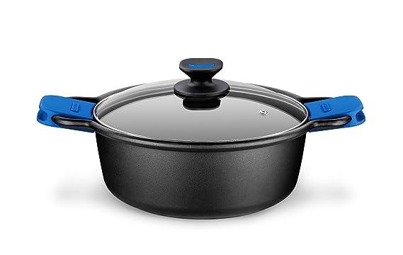 Monix Solid Cacerola Alta, Tapa de Cristal y Asas de Silicona, 2.5 litros, Aluminio, Negro y Azul: Amazon.es: Hogar