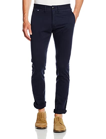 35087809f Hilfiger Denim Men's Ferry Slim Chino Trousers, Blue (Navy Blazer), W28/