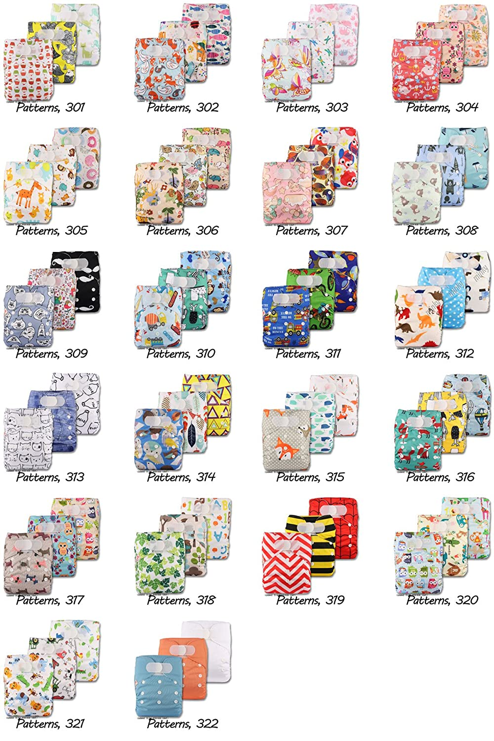 Patterns 312 Set of 3 Fastener: Popper with 3 Bamboo Charcoal Inserts Littles /& Bloomz Reusable Pocket Cloth Nappy
