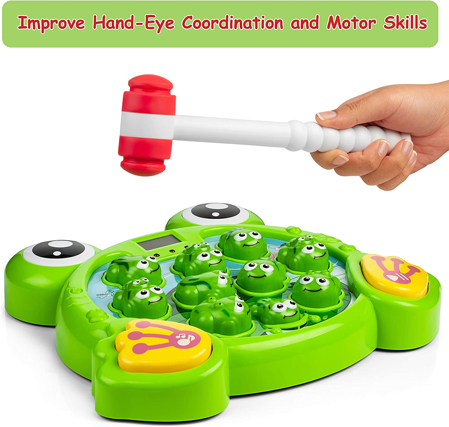 Interactive Toys for 2 Developmental Games for Coordination Building Includes 2 Hammers 3 Whack A Frog Game and 4 Year Old Boys and Girls Whack a Mole Style Family Game for Toddlers