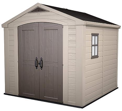 Keter - Caseta de jardín exterior Factor 8x8 con escuadra incluida, Color marrón / Beige