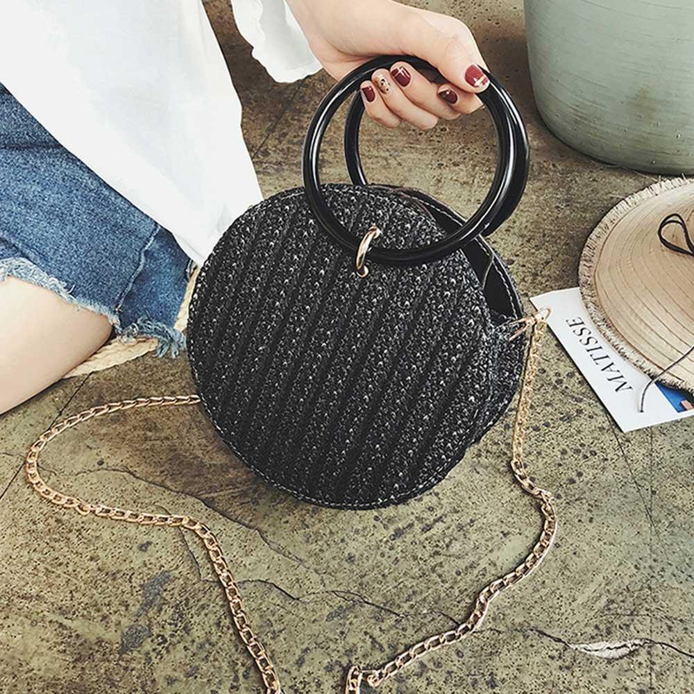 negro 20*20*10cm Pawaca Bolso de mano de paja para mujer bolso de verano cruzado redondo con correas de cadena beige bolso de hombro de playa